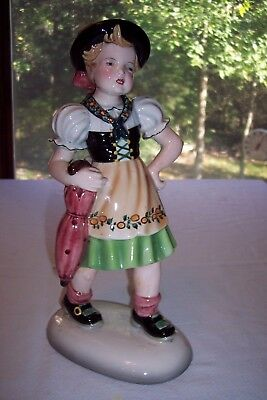 "Large 12"" Keramos Dakon Glass Porcelain Girl Figurine Wien Vienna Austria"