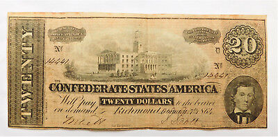 NO RESERVE Confederate States of America 20 Dollar Note