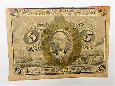 NO RESERVE United States Fractional Currency 5 Cents Note