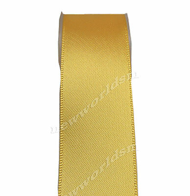 """5y 50mm 2"""" Yellow Gold Single Faced Sided Premium Wide Satin Ribbon Eco FREE PP"""