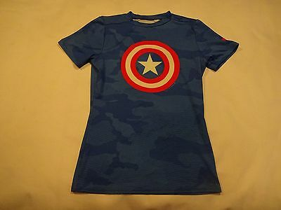 Boys Under Armour HeatGear Fitted Shirt, Blue CAPTAIN AMERICA, Youth Large YLG