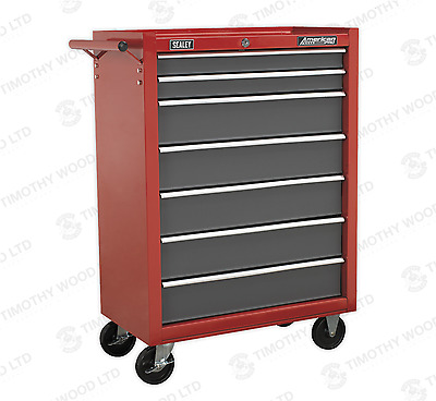 Sealey 7 Drawer Rollcab Tool Bottom Box Roller Cabinet Ball Bearing Runners Red