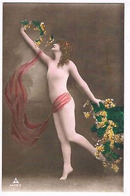 Glamour - Cpc - Edwardian Semi-Nude Dancer With Flowers By P.m.