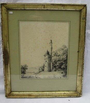 Original Pencil drawing  of 'French' tower by Ernest De Sancy 1870