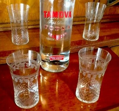PALL MALL EDWARDIAN GLASS TUMBLERS X 4 VINTAGE ANTIQUE Christmas Table Present
