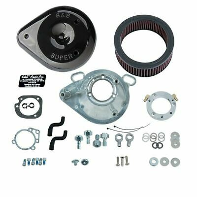 S&S Cycle Black Tear Drop Cover Air Cleaner Filter Kit Harley 99-2017 Big Twin