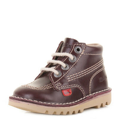 Kickers Boys Kick Hi Infant Leather Dark Red Leather Casual Boots Shoes Size