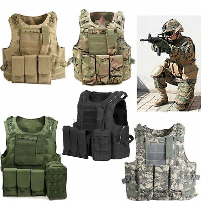 Tactical Vest Military SWAT Police Airsoft Molle Combat Assault Plate Heavy Duty