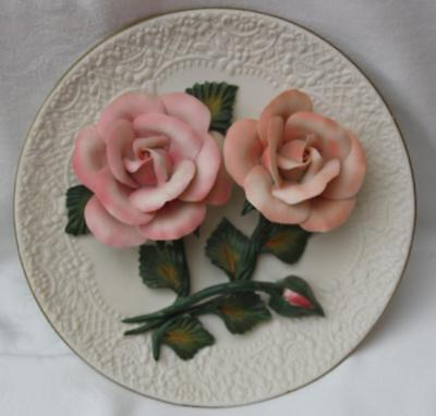 Franklin Mint The Roses of Capodimonte Plate Limited Edition - Pink