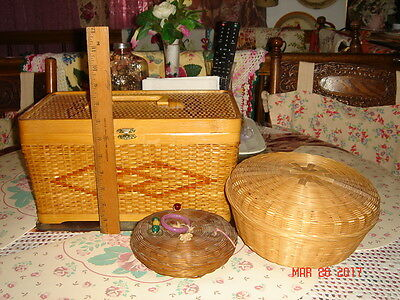 Vtg Asian Woven Straw Bamboo Wicker Carved Wood Beads Coins Sewing Basket Lot 3!