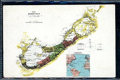 Bermuda Vintage Map  Postcard by Herrington of Hamilton   (O1285)