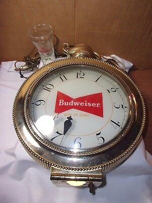 1960's Vintage Budweiser Beer Lighted moving Clock Bar Sign w/ Desert Scene  T*