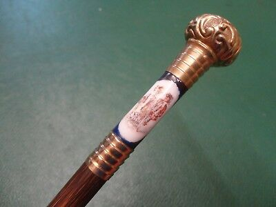 ANTIQUE/VINTAGE GOLD PLATE & PORCELAIN STEM WALKING STICK/CANE c1900