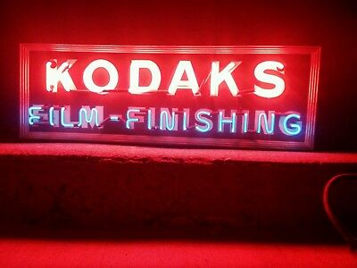 ORIGINAL 1930's Kodaks Kodak Film Advertising Neon Photography Store Sign -WORKS