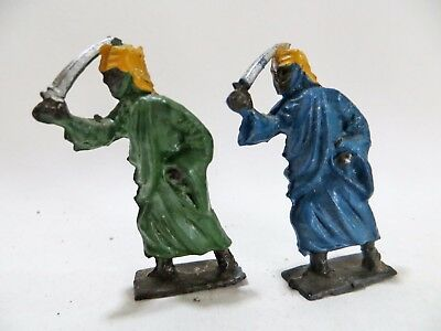 2x CRESCENT VINTAGE LEAD ARADS WITH SWORDS. BLUE & GREEN. VGC.