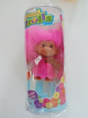 "NIB Good Luck Troll Doll By Dam 3"" Tall Hot Pink Hair  & Dress & Purse For Note"