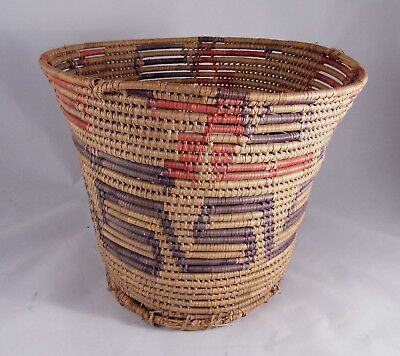 Antique Papago Tohono o'Odham Native American Coiled Basket, Truncated Cone Form