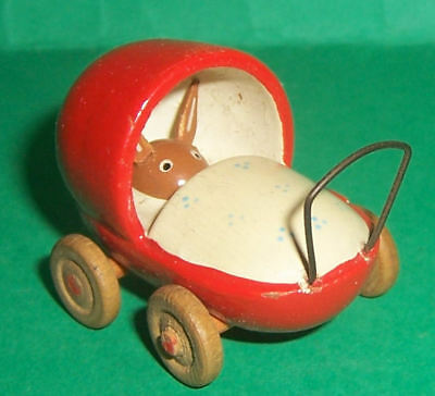 Vintage Dolls House Toy Wooden Pram With Bunny For The Dolls House Children