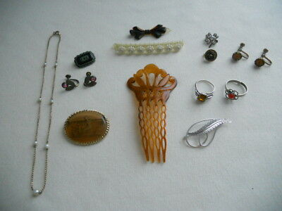 VINTAGE ART DECO JEWELRY LOT 13pcs HAIR COMBS STERLING RING BROOCHES EARRINGS