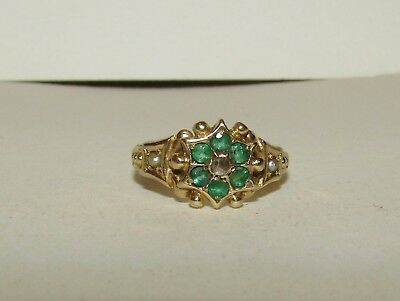 Superb, Antique, Georgian, 15 Ct Gold Ring With Emeralds, Diamond And Pearls