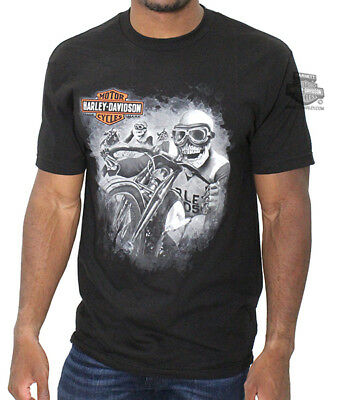 Harley-Davidson Mens Vintage Captain Skull Riders Black Short Sleeve T-Shirt