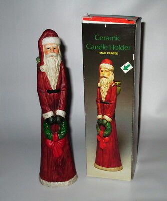 "Santa Claus With Wreath Candle Holder Hand Painted Ceramic 8 1/2"" Tall Box"