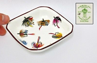 Rare Vintage Fly Fishing Crown Staffordshire Fine Bone China Dish - 10 x 10cms