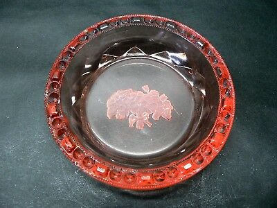 SALMON PINK PIN DISH - FROSTED INTAGLIO FLOWERS & BOBBLE RIM - 40's CZECH ??