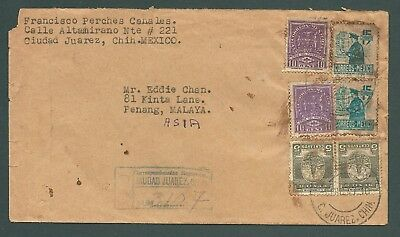 MEXICO - 1947 REGISTERED cover to Penang, MALAYA - many backstamps