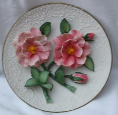 Franklin Mint The Pink Roses of Capodimonte Plate Limited Edition