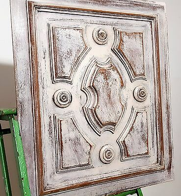 SHABBY CARVED WOOD PANEL ANTIQUE FRENCH GOTHIC ROSACE SALVAGED CARVING 19 th b