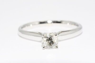 $2,500 .46Ct Natural Solitaire Round Diamond Engagement Ring 14K White Gold