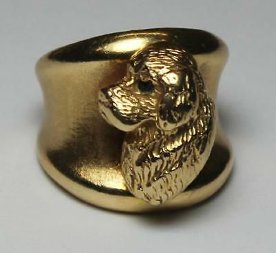 Vintage Clumber Spaniel 14 KT Gold Ring with Sapphire eye Made c.1980 by Brooks