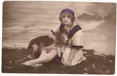 Vintage Glamour Rp Postcard,woman & Collie Dog,bathing Beauty,underwood,rotary