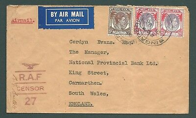 STRAITS SETTLEMENTS - 1941 RAF Censor cover to Wales
