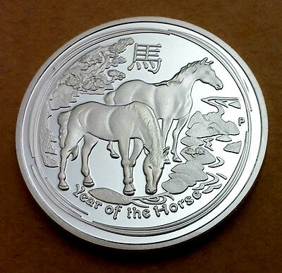 Chinese Year of the Horse Silver Coin Australia Zodiac Medallion Queen Elizabeth