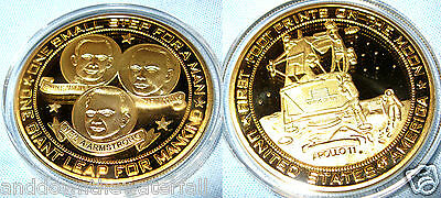 Moon Landing Gold Coin One Small Step for Man 1969 Space Travel Rocket Shuttle