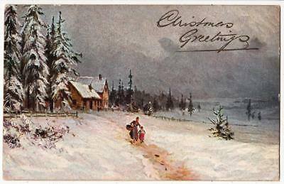 Vintage A/s Xmas Postcard,hildesheimer,snow,winter Pictures Series 5413,1907