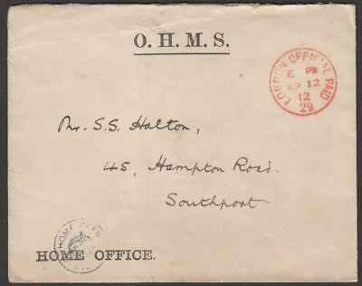 KGV 1912 Home Office Official Paid Cover London to Southport