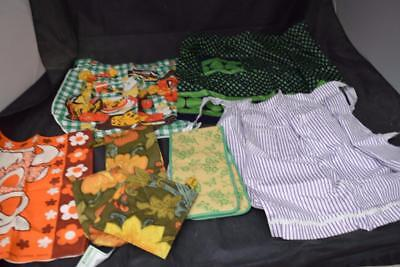 Collection of Vintage Retro Half Aprons, Oven Gloves/Mitts and Tea Towels