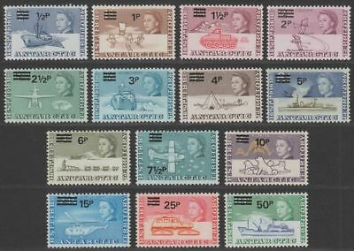 British Antarctic Territory 1971 QEII Decimal Surcharge Set Mint SG24-37 cat £95