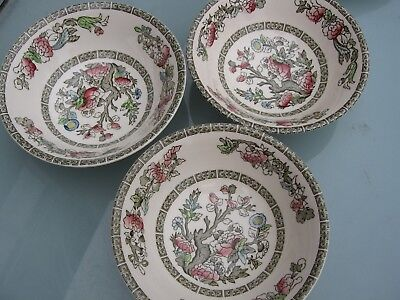 """Vintage Indian Tree By Johnson Bros Ironstone 3 Unused Cereal/fruit Bowls 6"""" Dia"""