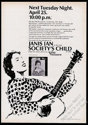 1967 Janis Ian portrait Society's Child record release vintage trade print ad