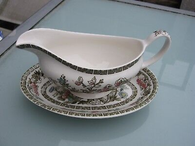 Vintage Gravy Boat On Stand Indian Tree By Johnson Bros Ironstone Unused Cond