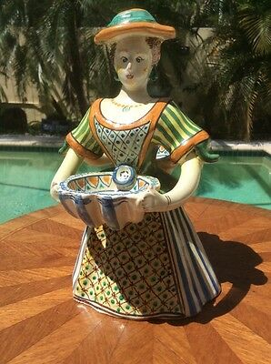 Gorgeous Hand Made Artist Signed Faience Double Open Salt, ff590 COOL GIFT IDEA!