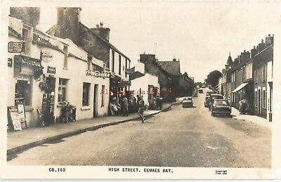 Wales Anglesey Cemaes Bay High Street Real Photo Vintage Postcard
