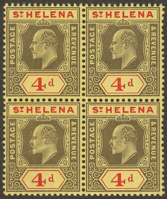 St Helena 1908 KEVII 4d Black + Red Chalky Paper Block Mint SG66 cat £68 variety