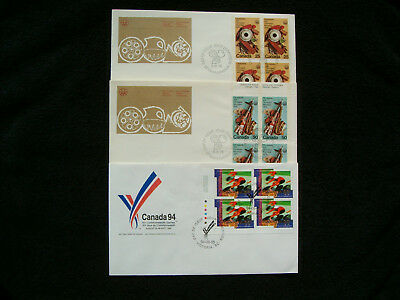 Canada, 1974-94 International Sport Events in Canada Combos/Plate Blocks on FDCs