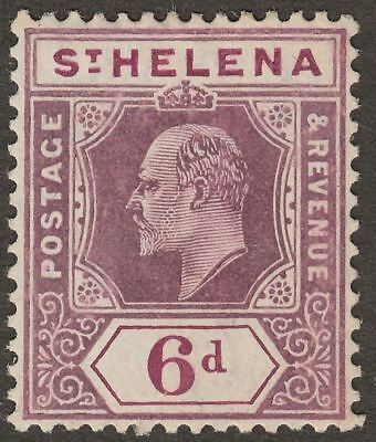 St Helena 1908 KEVII 6d Dull and Deep Purple Chalky Paper Mint SG67 cat £48