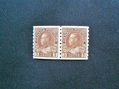 Canada, 1918 George V 3c Brown Coil Pair MH